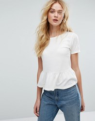 Miss Selfridge Peplum Tee White