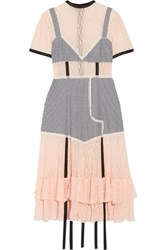 Sandy Liang Accord Paneled Gingham Stretch Cotton And Lace Dress Pastel Pink