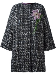 Dolce And Gabbana Flower Detail Coat Grey