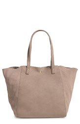 Sole Society Norah Slouchy Faux Leather And Suede Tote Grey