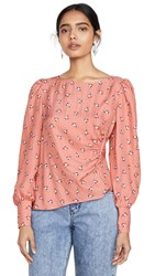 Rebecca Taylor Long Sleeve Brigette Blouse Tangerine Combo