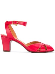 Chie Mihara Mid Heel Open Toe Sandals Red