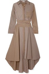 Brunello Cucinelli Asymmetric Striped Cotton Poplin Dress Camel