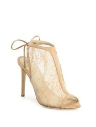 Monique Lhuillier Felicity Lace And Suede Peep Toe Booties Blush