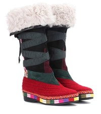 Etro Embroidered Suede Boots Multicoloured