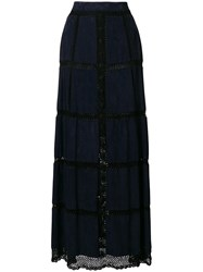Michel Klein Net Panelled Maxi Skirt Blue