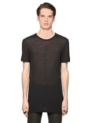 Diesel Black Gold Rib Wool And Viscose Jersey T Shirt