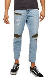 Topman Camo Patch Tapered Fit Jeans Blue