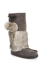 Manitobah Mukluks Women's Snowy Owl Waterproof Genuine Fur Boot Charcoal Rabbit Fur Suede