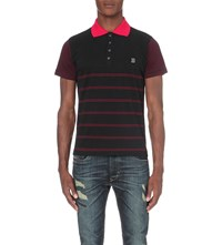 Diesel Striped Cotton Jersey Polo Shirt Black