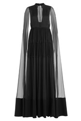 Valentino Floor Length Silk Gown With Chiffon Cape Black