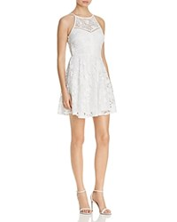 Aqua High Neck Lace Fit And Flare Dress White
