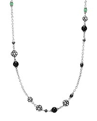 John Hardy Sterling Silver Dot Station Necklace With Black Spinel Black Sapphire And Obsidian 36 Black Silver