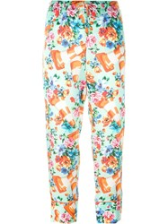 Moschino Cone And Flower Print Trousers Yellow And Orange