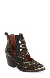 Jeffrey Campbell 'Maceo' Pointy Toe Bootie Women Black Gold Snakeskin