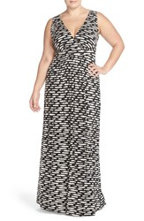 Plus Size Women's Tart 'Chloe' Print Empire Waist Jersey Maxi Dress Brushstrokes