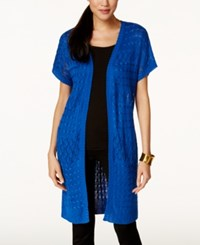 Ny Collection Open Knit Duster Cardigan