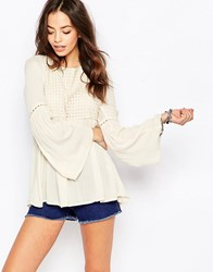 Only Open Back Bell Sleeve Tunic Cream