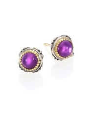 Konstantino Erato Amethyst 18K Yellow Gold And Sterling Silver Stud Earrings Silver Multi