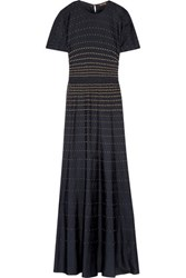 Roberto Cavalli Studded Perforated Jersey Gown Midnight Blue