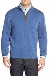 Men's Vineyard Vines 'Round Hill' Quarter Zip Sweater With Suede Elbow Patches Wipeout
