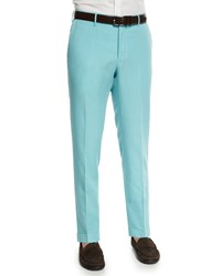 Incotex Chinolino Linen Blend Trousers Aqua Blue Men's