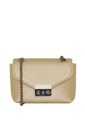 Hallhuber Mini Shoulder Bag With Chain Handle Gold Metallic