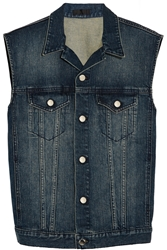 Blk Dnm Faux Suede Fringed Denim Vest