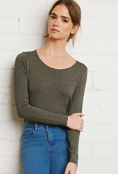 Forever 21 Boat Neck Micro Striped Tee Olive Black