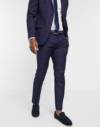 Ben Sherman Navy Windowpane Check Slim Fit Suit Trousers