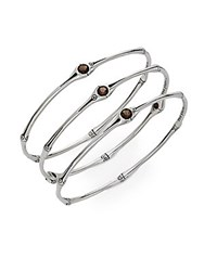 John Hardy Bamboo Smoky Quartz And Sterling Silver Bangle Bracelet Set