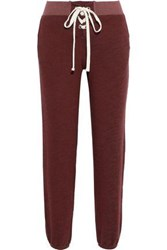 Monrow Woman Lace Up French Terry Track Pants Merlot