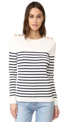 Petit Bateau Striped Button Embellished Sweater Lait Smoking