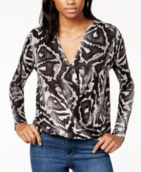 Guess Long Sleeve Faux Wrap Top
