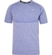 Nike Running Melange Knitted Dri Fit T Shirt Blue