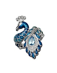 Lord And Taylor Blue And White Topaz Sterling Silver Peacock Ring
