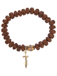 Loree Rodkin Carved Wood Beaded Diamond Bracelet Brown