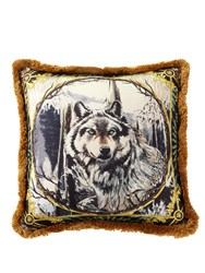 Versace Harry Wolf Printed Silk Accent Pillow
