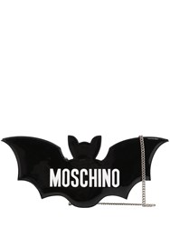 Moschino Bat Faux Patent Leather Clutch Black