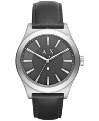 Armani Exchange Ax Men's Nico Diamond Accent Black Leather Strap Watch 44Mm Ax2325