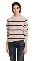 Jenni Kayne C Marl Stripe Fisherman Sweater Stone Red