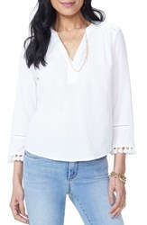 Nydj Tassel Sleeve Cotton Top Optic White