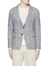 Tomorrowland Stripe Textured Cotton Paper Blazer Multi Colour