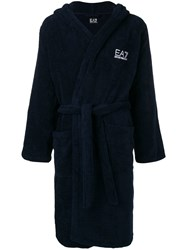 Emporio Armani Ea7 Logo Embroidered Toweling Robe Blue