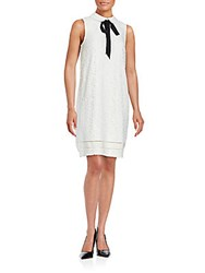 Karl Lagerfeld Sleeveless Lace Embroidered Dress Ivory