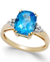 Macy's Blue Topaz 3 3 4 Ct. T.W. And Diamond Accent Ring In 14K Gold Yellow Gold