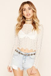 Forever 21 Semi Sheer Lace Crop Top