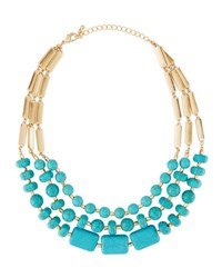 Fragments For Neiman Marcus Triple Strand Beaded Collar Necklace Turq
