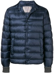 Herno Buttoned Puffer Jacket Blue