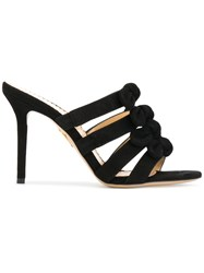 Charlotte Olympia 'Blyton' Bow Embellished Mules Calf Leather Calf Suede Black